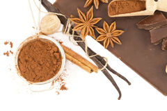 Chocolate and spices Stock Photos