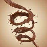 Chocolate spiral, Chocolate or brown fluid splash. Chocolate spiral, Chocolate or brown fluid splash, chocolate 3d illustration Stock Image