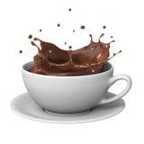 Chocolate splash in cup Stock Photo