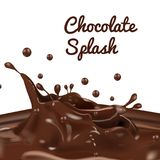Chocolate splash with drop and real feel. Real feel chocolate splash with coco bar stock illustration