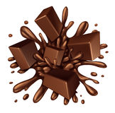 Chocolate Splash. Liquid with chunks of melting candy exploding with a blast of dripping sweet brown syrup isolated on a white background as a food ingredient Stock Photos