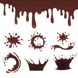 Chocolate splash set, vector illustration Royalty Free Stock Photo