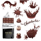 Chocolate splashes set Royalty Free Stock Photography