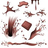 Chocolate splashes  set Stock Images