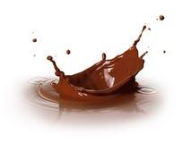 Chocolate splashing. Chocolate drink splashing with ripple and reflection Royalty Free Stock Image