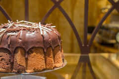 Chocolate Sponge Cake. Delicious Chocolate Sponge Cake in Restaurant Stock Photography