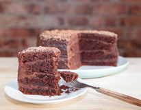 Chocolate sponge cake with chocolate buttercream Royalty Free Stock Image