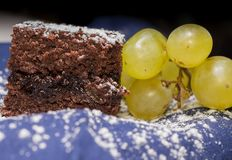 Chocolate sponge cake with icing sugar and grapes on the blue tablecloth.  Royalty Free Stock Photo