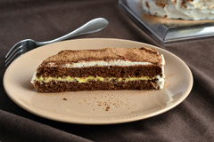 Chocolate sponge cake with lemon cream Stock Images