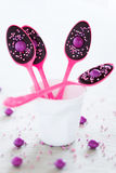 Chocolate spoons. Chocolate party spoons, selective focus Royalty Free Stock Image
