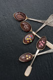 Chocolate spoons Stock Photos