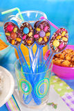 Chocolate spoons for birthday party Royalty Free Stock Photo