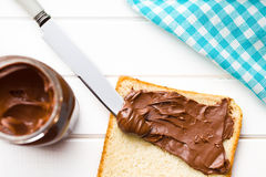 Chocolate spread with bread Stock Photography