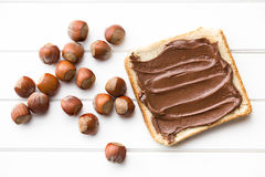 Chocolate spread with bread Royalty Free Stock Photography