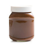 Chocolate spread in jar. On white background Stock Images