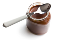 Chocolate spread in jar Stock Photo