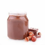 Chocolate spread. And nuts isolated Stock Image