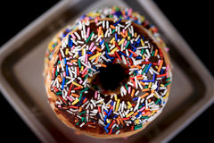 Chocolate sprinkle doughnuts Stock Photos