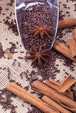 Chocolate sprinkles, anise and cinamon Royalty Free Stock Photos