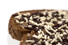 Chocolate sprinkles on bread 2 Royalty Free Stock Photo