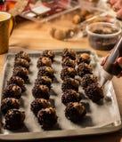 Chocolate sprinkles on hedgehog doughnut holes for a party favor. royalty free stock photos