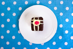 Chocolate cookie. Chocolate square cookie. Top view Stock Photography