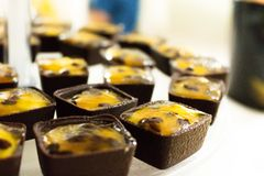 Chocolate square with passion fruit mousse royalty free stock photography