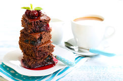 Chocolate squares. With cranberry and prunes, selective focus Stock Image