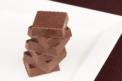 Chocolate Squares Stacked Stock Photography