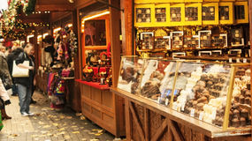 Chocolate stand. Bristol, UK - November 9, 2015: A chocolate stand in the 7th German Christmas Market in Broadmead, Bristol. They are 38 traditional chalets Royalty Free Stock Images