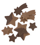 Chocolate stars. On white background Royalty Free Stock Images