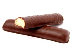 Chocolate sticks with a vanilla stuffing Stock Images