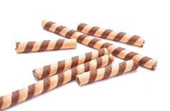 Chocolate sticks on white background Stock Image