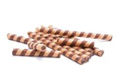 Chocolate sticks on white background Stock Photos
