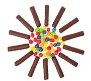 Chocolate Sticks With A Cream And The Multi-coloured Sweets Isol Stock Photos
