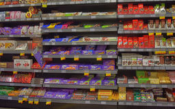 Chocolate on store shelves Stock Image