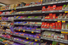 Chocolate on store shelves Royalty Free Stock Photo