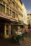 Chocolate stores at Streets of Bruges. Belgian chocolate stores in Bruges Royalty Free Stock Images