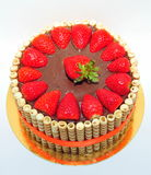 Chocolate and strawberries cake Stock Image