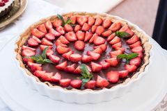Chocolate and strawberries tart Royalty Free Stock Photo
