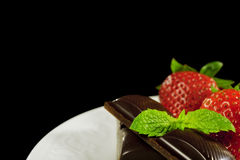 Chocolate & Strawberries on White Plate Stock Photos