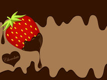 Chocolate and strawberry background Stock Photo