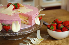 Chocolate strawberry cake stock images