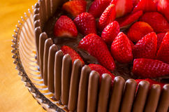 Chocolate and Strawberry Cake Stock Photo