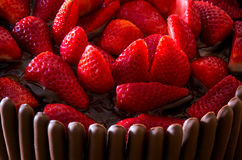 Chocolate and Strawberry Cake Royalty Free Stock Images