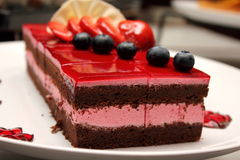 Chocolate strawberry cake with jelly strawberry Stock Image