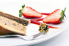 Chocolate and strawberry cake served nicely. Royalty Free Stock Photos