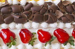 Chocolate and strawberry cake topping Royalty Free Stock Image