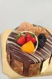 Chocolate strawberry cake on white background. Royalty Free Stock Photos