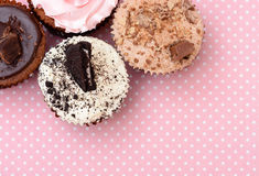 Chocolate Strawberry Cookies and cream cup cake on vintagetable cloth Stock Photos